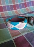 KILLER 50s ROCKABILLY REVERSIBLE LEATHER BELT SZ 90 AMAZING DESIGN-TOP QUALITY